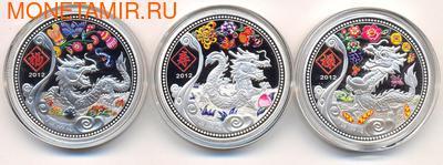 Демократическая Республика Конго 3х240 франков 2012. Набор монет: «Лунный календарь» Драконы Лу, Фу, Шу (фото)