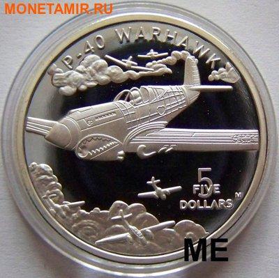 """Маршалловы острова 5 долларов 1991. """"Самолет Р-40 Warhawk"""".Арт.000035146930 (фото)"""