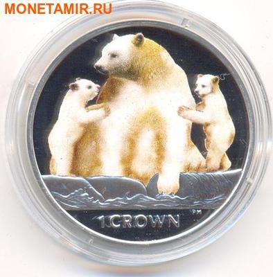 Остров Мэн 1 крона 2013. «Кермодский медведь и детеныши».Арт.000226947141 (фото)
