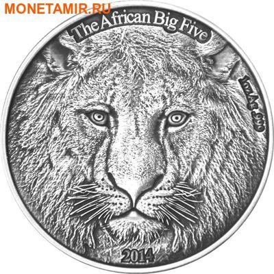 Буркина Фасо 1000 франков 2014 Лев Большая Африканская Пятерка (Burkina Faso 1000FCFA 2014 Big 5 Lion 1 oz Silver Coin).Арт.000626249801 (фото)