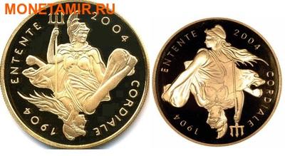 Великобритания 5 фунтов Франция 20 евро 2004 набор из двух монет. «100-летие образования Антанты между Англией и Францией». (фото)