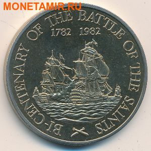 Сент-Китс и Невис 20 долларов 1982.Корабли «200-летие сражения у островов Всех Святых». (фото)