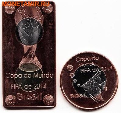 Кабинда 40 реал и 25 реал 2014 набор из двух монет. «Футбол – Бразилия Чемпионат Мира ФИФА 2014».Арт.000075047515 (фото)