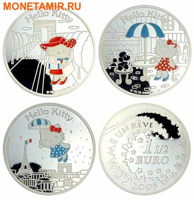 Франция 1,5 евро 2005 набор из 3-х монет. «Привет Котенок – Hello Kitty».