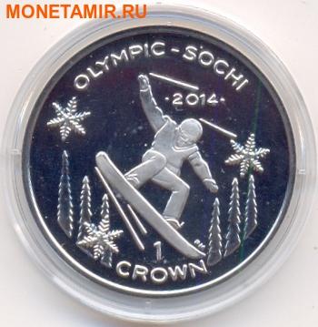 Остров Мэн 1 крона 2013. «Олимпиада Сочи 2014 – Сноуборд».(Раритет)