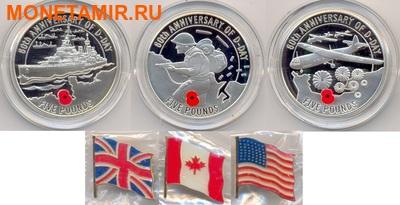 Олдерни, Гернси, Джерси 3х5 фунтов 2004.60 лет празднования Дня-Д (набор из трех монет).Арт.000700046986/60