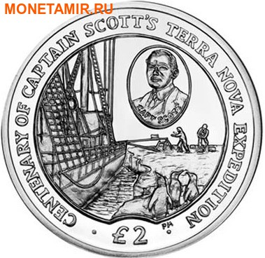 Британские Антарктические Территории 2 фунта 2012. Корабль – « Терра Нова», «100 лет экспидиции капитана Скотта».Арт.0000260443623 (фото)