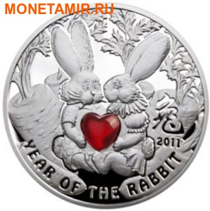 Ниуэ 1 доллар 2010. Кролики с сердцем – « Год Кролика».Арт.000143333580