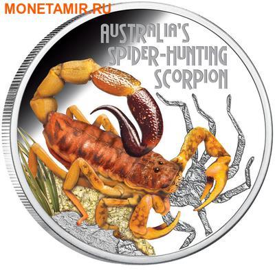 Тувалу 1 доллар 2014 Скорпион серия Смертельно Опасные (Tuvalu 1$ 2014 Deadly and Dangerous Spider Hunting Scorpion 1oz Silver Coin).Арт.000276948660/92 (фото)