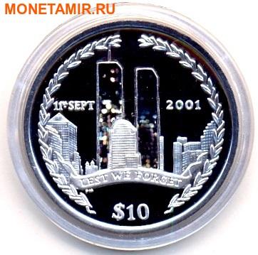 Британские Виргинские Острова 10 долларов 2002. «11 сентября». (фото)