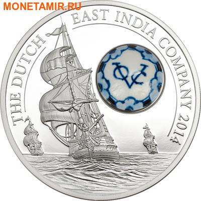 Острова Кука 10 долларов 2014 Голландская Ост-Индская Компания Фарфор Корабль (Cook Islands 10$ 2014 Royal Delft Dutch East India Company Ship Silver Coin).Арт.000946750062
