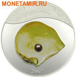 Палау 5 долларов 2007.Жемчужина желтая - Пинктада максима(Pinctada maxima) серия Защита морской жизни. (фото)