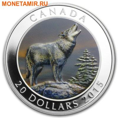Канада 20 долларов 2015.Волк (эмаль). (фото)
