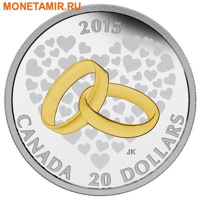 Канада 20 долларов 2015.Свадьба (два кольца). (фото)