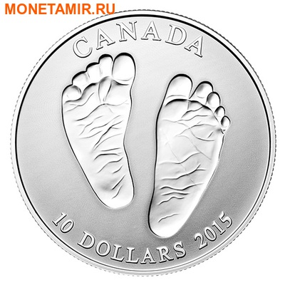 Канада 10 долларов 2015.Добро пожаловать в мир.Монета на рождение.Арт.60 (фото)