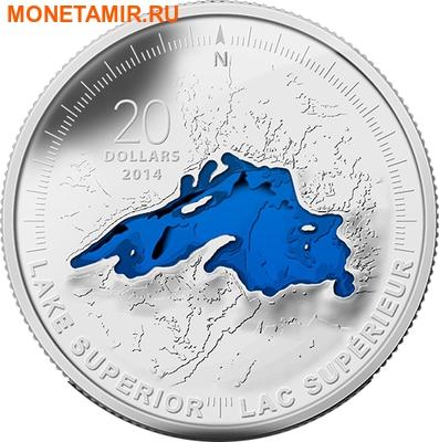 Канада 20 долларов 2014 Озеро Верхнее Великие Озера (Canada 20C$ 2014 Lake Superior Great Lakes Silver Proof).Арт.000327945704/67 (фото)
