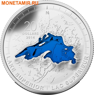 Канада 20 долларов 2014 Озеро Верхнее Великие Озера (Canada 20C$ 2014 Lake Superior Great Lakes Silver Proof).Арт.000327945704/67 (фото)