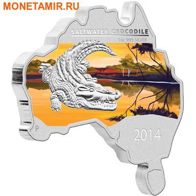 Австралия 1 доллар 2014.Морской крокодил серия Карта Австралии.Арт.000461149262
