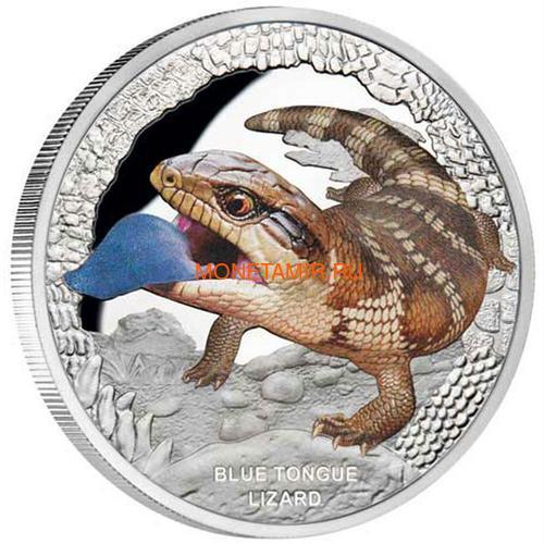 Тувалу 1 доллар 2015 Ящерица Синеязыкий Cцинк Замечательные Рептилии (Tuvalu $1 2015 Blue Tongue Lizard Remarkable Reptiles 1oz Silver Proof Coin).Арт.000100050575/60 (фото)