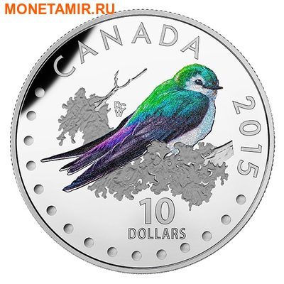 Канада 10 долларов 2015.Фиолетово-зеленая Американская Ласточка - Красочные певчие птицы Канады. (фото)