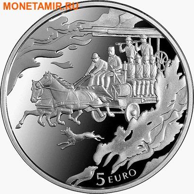 Латвия 5 евро 2015.150 лет Пожарной службы. (фото)