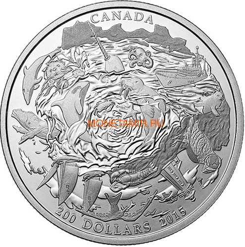 Канада 200 долларов 2015 Прибрежные Воды серия Пейзажи Севера (Canada 200$ 2015 Coastal Waters of Canada 2oz Silver Coin).Арт.001115251074/60 (фото)