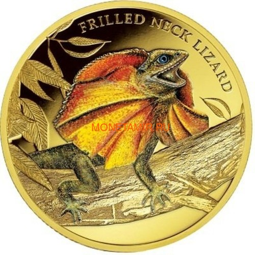 Ниуэ 100 долларов 2014 Плащеносная Ящерица Замечательные Рептилии (Niue $100 2014 Frilled Neck Lizard Remarkable Reptiles 1oz Gold Proof Coin).Арт.85 (фото)