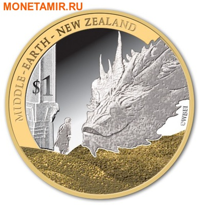 Новая Зеландия 1 доллар 2014.Хоббит: Битва пяти воинств.Дракон Смауг и Хоббит Бильбо. (фото)
