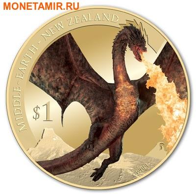 Новая Зеландия 1 доллар 2014.Хоббит: Битва пяти воинств.Дракон Смауг.(Блистер). (фото)