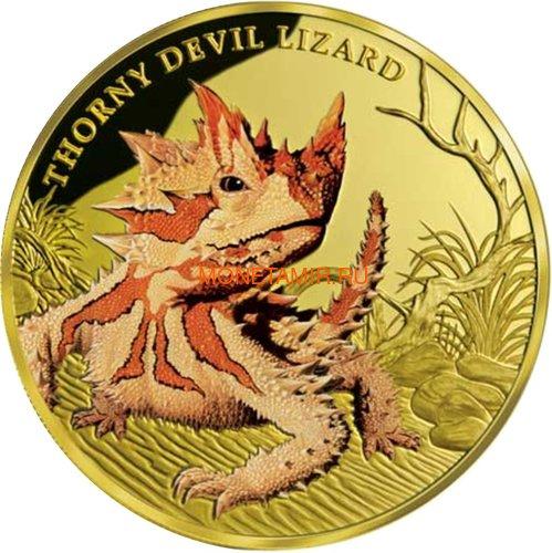 Ниуэ 100 долларов 2015 Ящерица Колючий Дьявол Замечательные Рептилии (Niue $100 2015 Thorny Devil Lizard Remarkable Reptiles 1oz Gold Proof Coin).Арт.85 (фото)