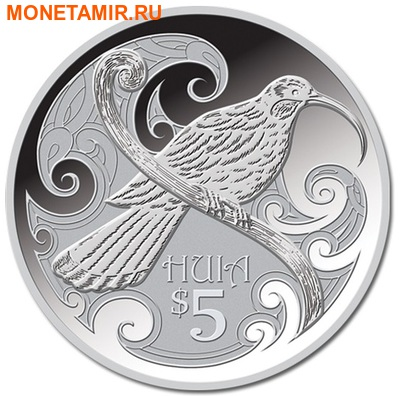 Новая Зеландия 5 долларов 2015.Птица Гуйя.Арт.000100050838/60 (фото)
