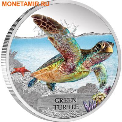Тувалу 1 доллар 2014 Зеленая черепаха – Исчезающие виды.Арт.000221544889/60 (фото)
