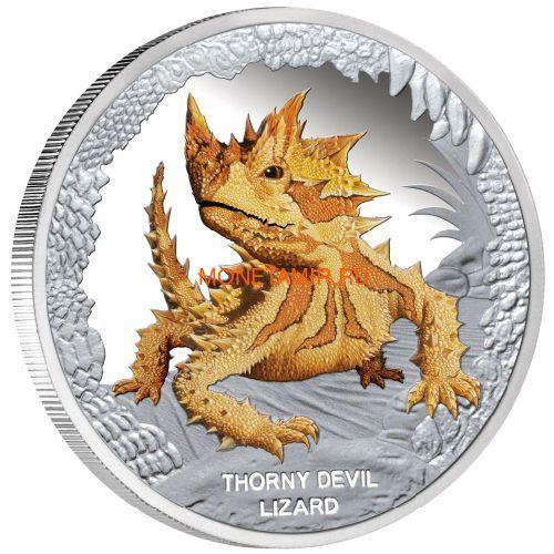 Тувалу 1 доллар 2014 Ящерица Колючий Дьявол Замечательные Рептилии (Tuvalu $1 2014 Thorny Devil Lizard Remarkable Reptiles 1oz Silver Proof Coin)..Арт.000274348680/60 (фото)