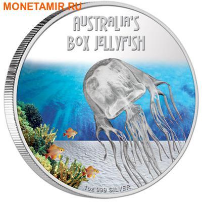 Тувалу 1 доллар 2011 Кубомедуза серия Смертельно Опасные (Tuvalu 1$ 2011 Deadly and Dangerous Box Jellyfish 1oz Silver Coin).Арт.000309434906/92 (фото)