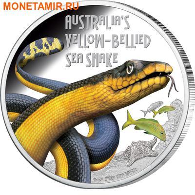 Тувалу 1 доллар 2013 Змея Двухцветная Пеламида серия Смертельно Опасные (Tuvalu 1$ 2013 Deadly Dangerous Yellow Bellied Sea Snake).Арт.000326943254/60 (фото)