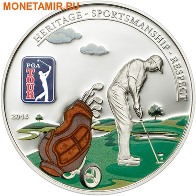 Острова Кука 5 долларов 2014.Гольф - PGA TOUR (Сумка для гольфа).Арт.000318646869/60 (фото)