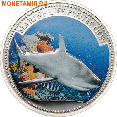 Палау 5 долларов 2008.Акула серая рифовая (Grey reef shark) – Защита морской жизни.Арт.60 (фото)