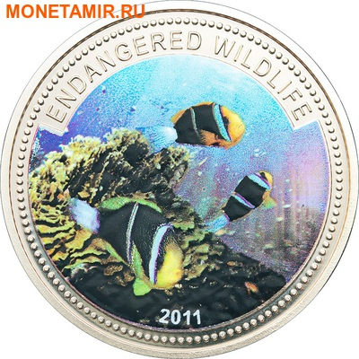 Палау 1 доллар 2011.Рыба Клоун (Anemonefish) – Под угрозой исчезновения.Арт.0400280313/60 (фото)