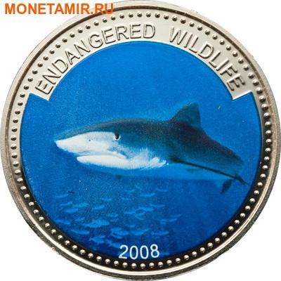Палау 1 доллар 2008.Тигровая акула (Tiger Shark) – Под угрозой исчезновения.Арт.60 (фото)