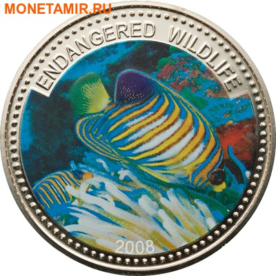 Палау 1 доллар 2008.Рыба Королевский морской ангел (Regal Angelfish) – Под угрозой исчезновения.Арт.60 (фото)