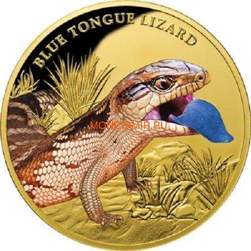 Ниуэ 100 долларов 2016.Ящерица - Синеязыкий сцинк (Blue Tongue Lizard).Арт.60 (фото)