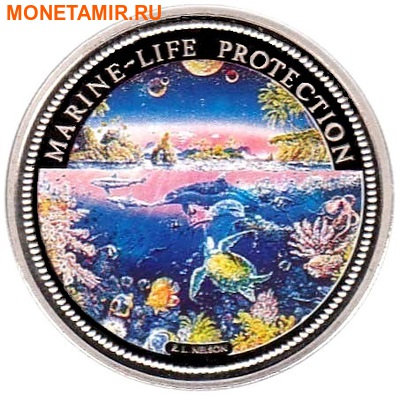 Палау 1 доллар 1993.Морская фауна – Защита морской жизни.Арт.000040047746/60 (фото)