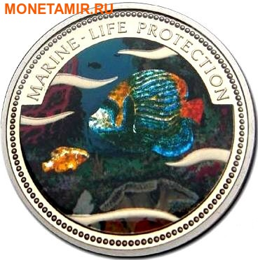 Палау 1 доллар 2001.Морская Рыба – Защита морской жизни (голограмма).Арт.000040047750/60 (фото)