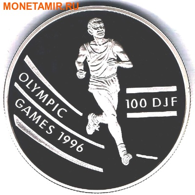 Джибути 100 франков 1994.Бег - Олимпийские игры 1996.Арт.000048912446/60 (фото)