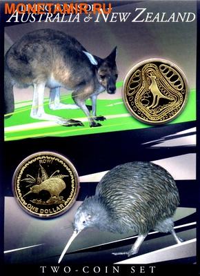 Австралия и Новая Зеландия 2х1 доллар 2005.Кенгуру и Киви.Арт.000034231220/60 (фото)