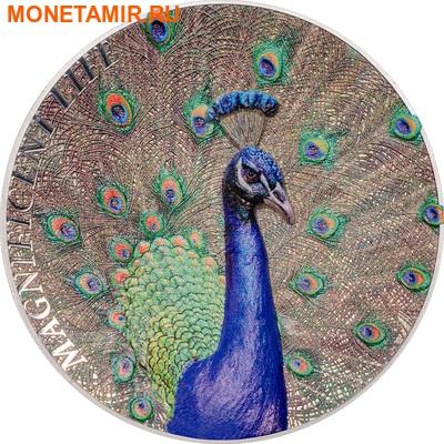 Острова Кука 5 долларов 2015 Павлин Великолепная жизнь (Cook Isl 5$ 2015 Magnificent Life Peacock 1Oz 999 Silver).Арт.60 (фото)