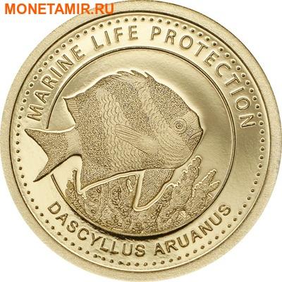 Палау 1 долларов 2015.Рыба Дасцилл зебра белохвостый – Защита морской жизни.Арт.60 (фото)
