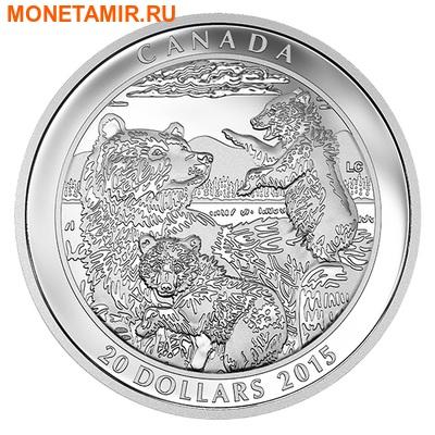 Канада 20 долларов 2015.Медведи Гризли.Арт.60 (фото)