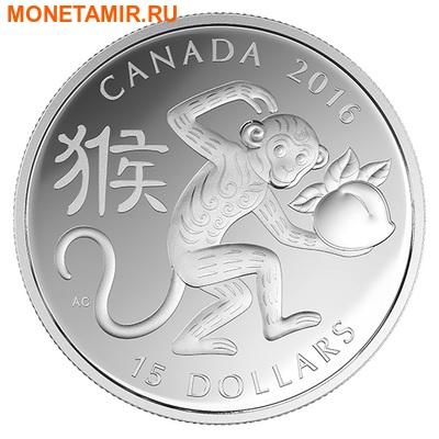 Канада 15 долларов 2016.Год Обезьяны – Лунный календарь.Арт.60 (фото)