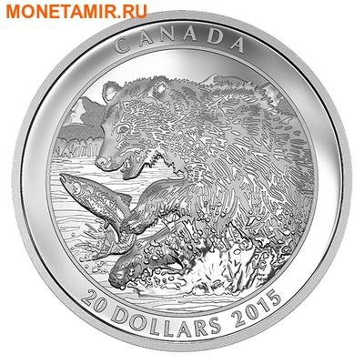 Канада 20 долларов 2015.Медведь Гризли ловит рыбу.Арт.60 (фото)